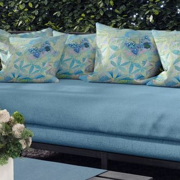 Butterfly Blue Outdoor Throw Pillow, teal, green, blue, Outdoor decor, patio pillows, cushions, garden, poolside