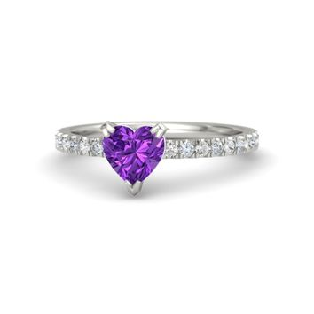 Heart Amethyst Palladium Ring with White Sapphire & Diamond