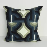 Navy Blue Decorative Pillow Cover, Designer Cushion Cover, Robert Allen Fabrics, 18 x 18