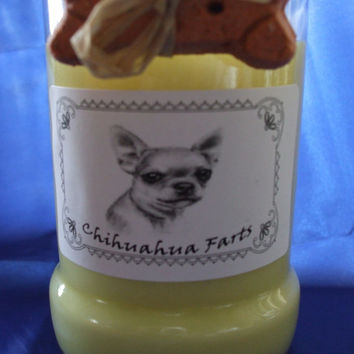 Chihuahua Farts Candle in a Recycled Liquor Bottle - 10oz