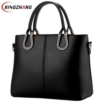 Women's Crossbody  PU Leather HandBag Luxury Solid Black