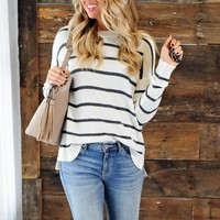 * Never Out Of Style Striped Sweater : Grey/White
