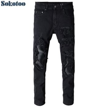 Sokotoo Men's black patchwork slim fit stretch denim biker jeans for motorcycle Casual skinny patch ripped distressed pants
