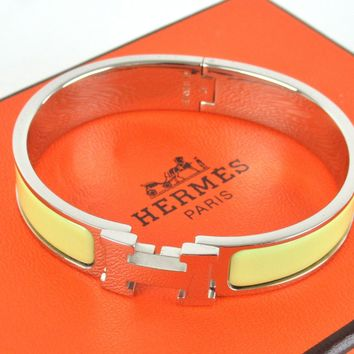 Authentic HERMES Yellow Enamel Clic Clac H Bangle Bracelet + Box