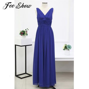 2018 Women Long Maxi Dress Sleeveless Empire Chiffon Summer Dress Vestidos De Fiesta A-Line Bridesmaid Long Dress Wedding Party