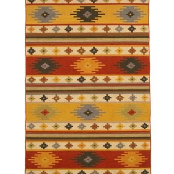 EORC Handwoven Wool Multi Traditional Geometric Kilim Rug