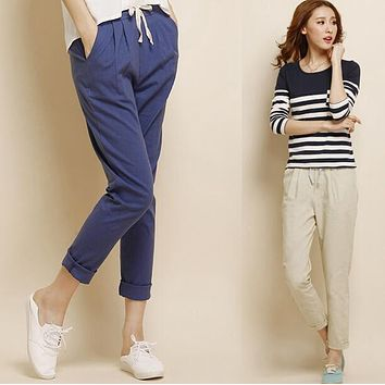 #1604 Linen pants women 2017 Summer trousers Ankle-length Pantalon femme Loose Baggy pants women Sarouel femme Harem pants women
