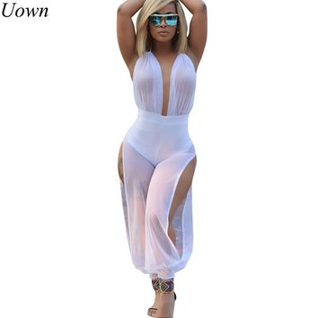 Summer Sexy Wide Leg Jumpsuits One Piece Outfits Full Bodysuit See Through Backless Mesh White Rompers Womens Jumpsuit Female