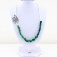 Green bead and chain necklace, green ombre seed beads, side fastening with leaf t-bar necklace.