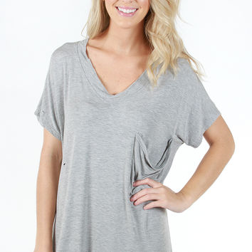 Lucky Find Tunic - Heather Grey