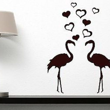 Wall Sticker Vinyl Decal Pair Lovers Flamingos Cool Birds Flying Heart Decor (n143)