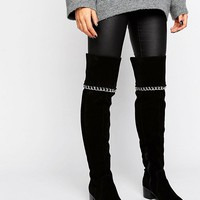 ASOS KEETA Suede Chain Over The Knee Boots at asos.com