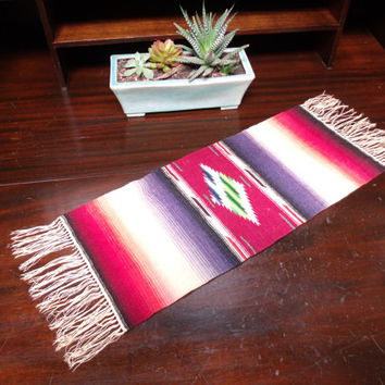 Vintage Small Mexican Serape Table Runner