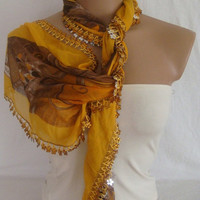 CLEARANCE SALE 30% OFF Traditional Turkish Yemeni Cotton Scarf With flower beads
