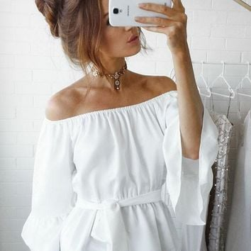 White Ruffle Sashes Boat Neck Off-shoulder Flare Sleeve Oversize Bohemian T-shirt