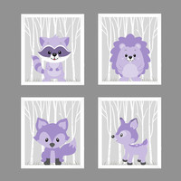 Woodland Animals Soft Purple Raccoon Hedgehog Fox Deer CUSTOMIZE COLORS, 8x10 Prints, set of 4, Nursery Decor Print Art Baby Room Baby Girl