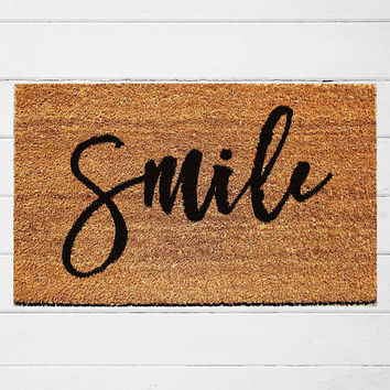Smile Doormat | Welcome Doormat | Coir Outdoor Rug | Housewarming Gift | Calligraphy | Home Decor | 18x30"