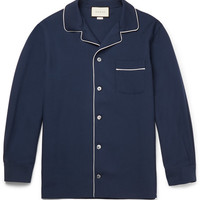 Gucci - Camp-Collar Contrast-Trimmed Wool and Mohair-Blend Twill Shirt