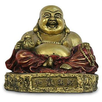 Happy Buddha Ho Tai Seated on Rock Small Prosperity Statue 3.5H