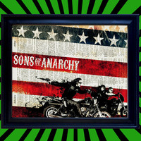 Sons of Anarchy Run and Gun Jax Teller Clay and Gemma over American Flag SOA Awesome Upcycled Vintage Dictionary Page Book Art Print 8x10