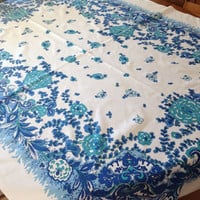 Vintage Blue Printed Cotton Tablecloth, Aqua Turquoise, 1960's Kitchen,  49 x 66