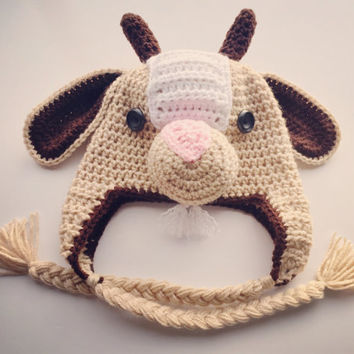 CROCHET PATTERN Billy Goat inspired earflap beanie NSTANT Download / Crochet Hat Pattern / Crochet Goat Beanie pattern / Halloween Costume