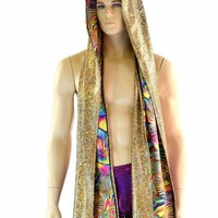 Reversible Scoodie in Gold on Black Shattered Glass & Tropical Swirl Print