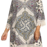 Plus Size Pretty In Paisley Crochet Hem Dress