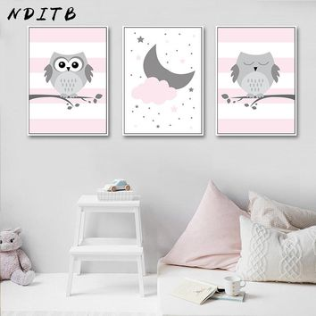 NDITB Woodland Animal Pink Owl Canvas Poster Cartoon Nursery Wall Art Print Minimalist Painting Nordic Kids Bedroom Decoration