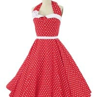 Red White Polka Dot Tea Length Coquette Halter Dress