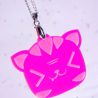 Kawaii Neon Pink Laughing Kitty Cat Acrylic Laser Cut Necklace