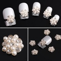 Yesurprise White Flower 10 pieces Silver 3D Alloy Nail Art Slices Glitters DIY Decorations