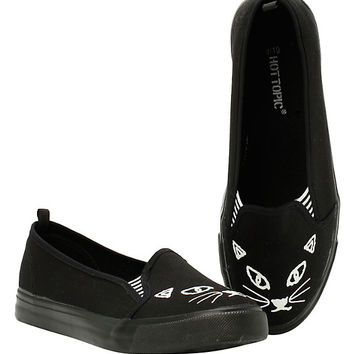 Black Cat Slip-Ons