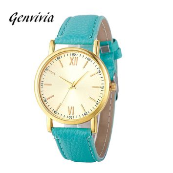 Fashion Lady Women Roman Watch Leather Band Analog Quartz Wrist Watch Elegant Ladies Dress Wristwatch Reloj Mujer Clock