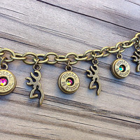 Bullet jewelry. Hunting bracelet with browning deer charms and bullet casings