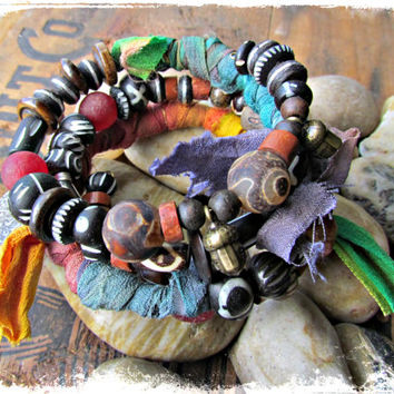 RAINBOW SUN~Artisan Four Coil Gypsy Bangle Bracelets~Rainbow Ribbon Wrap~Picasso~Ebony Beads~Ghana Krobo Beads~~Ethnic, Earthy~Rustic~