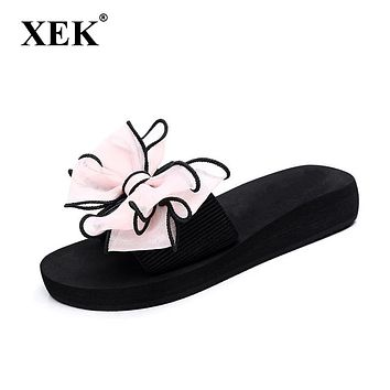 Women Slippers Bowknot Non-slip Breathable Flat Heels Sandals Woman Light Casual Summer Beach Shoes