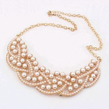 Pendant Necklace Women Simulated Pearl Jewelry Trends Statement Collar Necklaces Pearl Pendants For Party