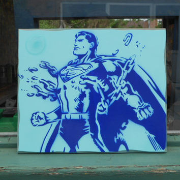 Superman painting on wood,stencil art,spray paints,blue,kids,comics,gifts,boys,urban,bedroom,wall art,superhero,art,handmade,pop art,classic