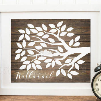 Personalized Rustic Wood Tree Guest Book, Teacher Gift, Party or Baby Shower, Bird Nest Guest Book, Event Guestbook, New Baby Gift Decor