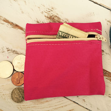 Hot Pink Leather Coin Purse
