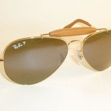 New RAY BAN Aviator Outdoorsman Brown Leather RB 3422Q 001/M9 Polarized Green
