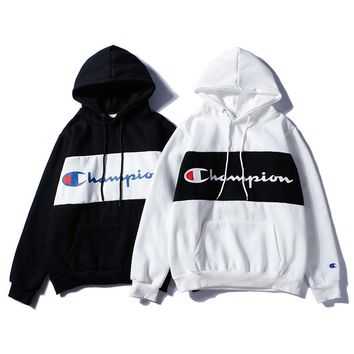 Champion Long Sleeve Hooded Printed Sweatshirt