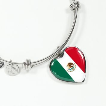 Mexican Pride - Heart Pendant Bangle Bracelet