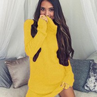 Streetstyle  Casual Yellow Plain High Neck Casual Mini Dress