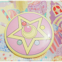 "Sailor Moon R Locket Inspired 3"" Button Pin for Fairy Kei, Mahou Kei, Magical Girl Fashion"