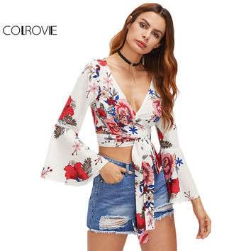 COLROVIE Random Florals Crop Top Wrap Tie Waist Blouse Elegant Women Fluted Sleeve Summer Tops 2017 New White Sexy V Neck Blouse