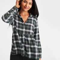 AE Ahh-Mazingly Soft Flannel Popover Shirt, Olive