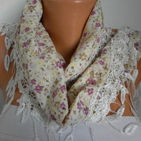 Flowers Scarf    Headband Necklace Cowl with Lace Edge by fatwoman/88861742