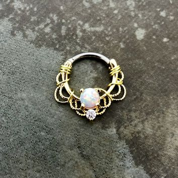 16G, 16 gauge Gold plated Wire wrapped white opal Septum Clicker Ring, Tribal Septum Ring Daith Hoop